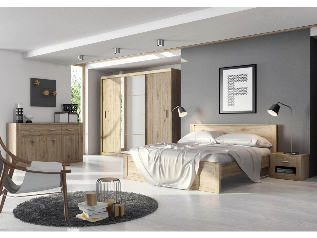 Dig-net nábytok Manželská posteľ Idea ID-08 / 180 x 200 cm Farba: dub sonoma