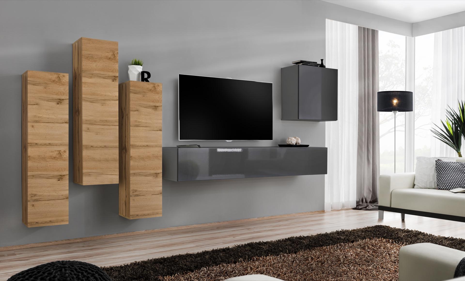 WIP-asm Obývacia stena SWITCH III Farba: dub votan / sivý mat / sivý lesk