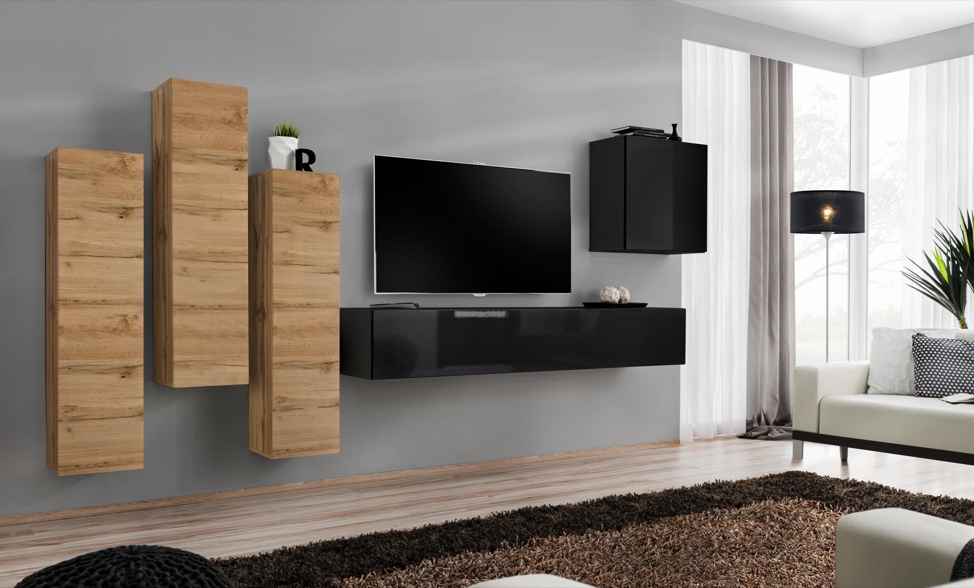 WIP-asm Obývacia stena SWITCH III Farba: dub votan / čierny mat / čierny lesk