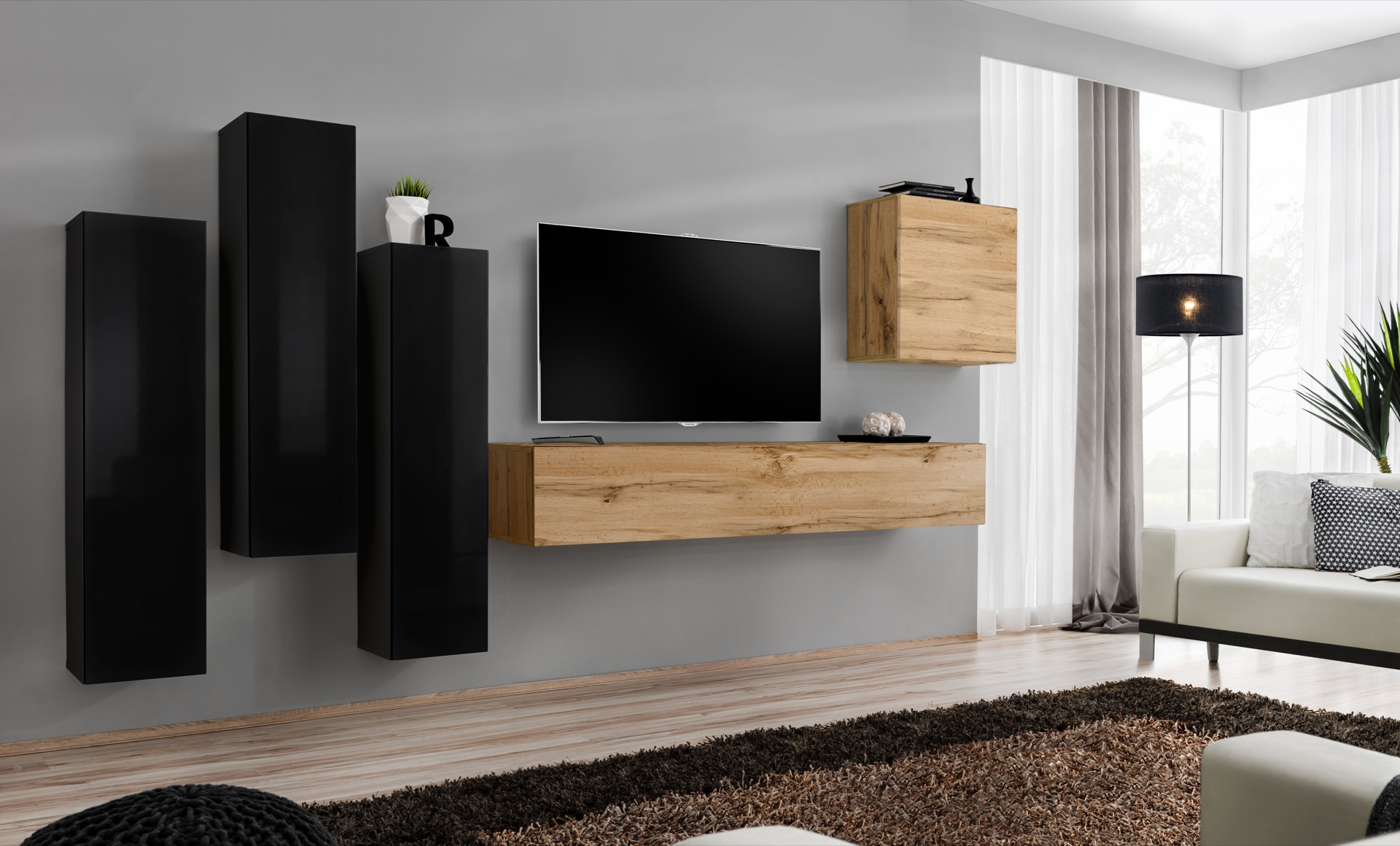 WIP-asm Obývacia stena SWITCH III Farba: čierny mat / čierny lesk / dub votan