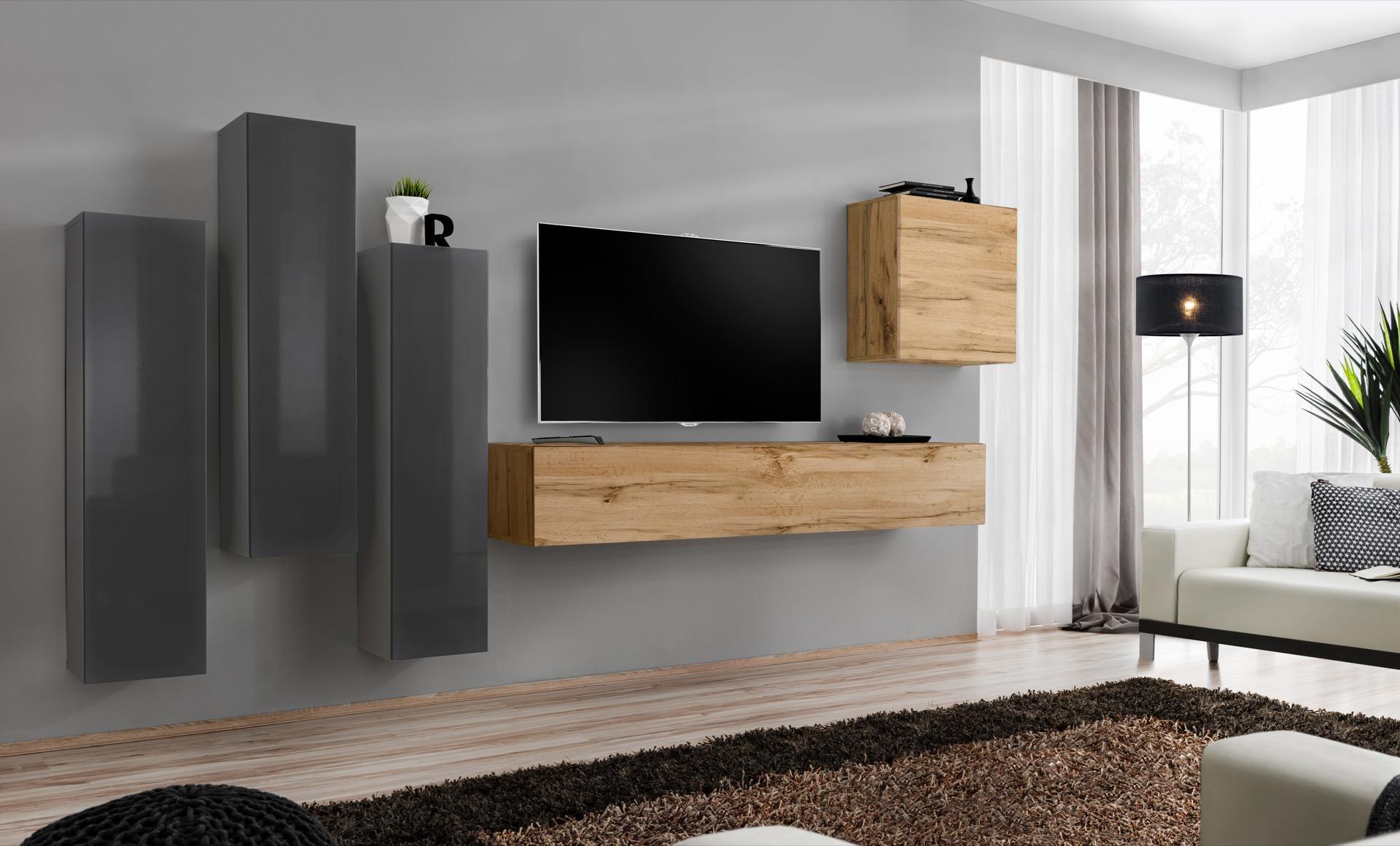 WIP-asm Obývacia stena SWITCH III Farba: sivý mat / sivý lesk / dub votan