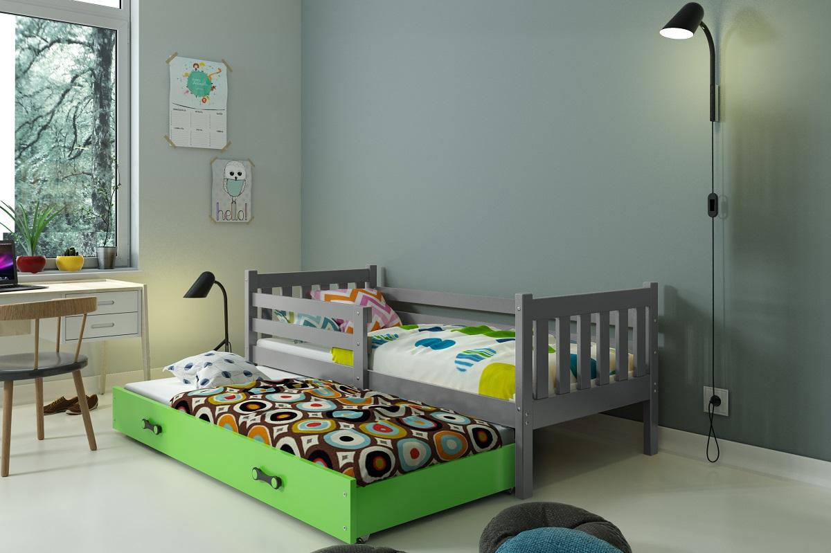 BMS Detská posteľ Carino s prístelkou Farba: Sivá / zelená