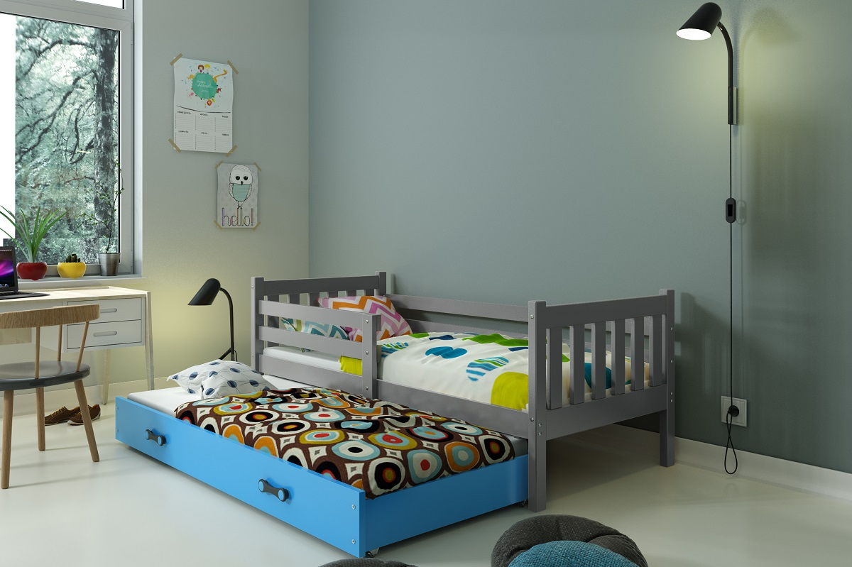 BMS Detská posteľ Carino s prístelkou Farba: Grafit + biely pásik - do vypredania zásob