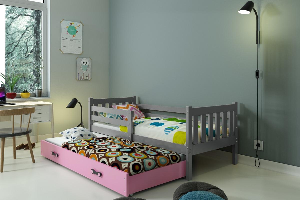 BMS Detská posteľ Carino s prístelkou Farba: Sivá / ružová