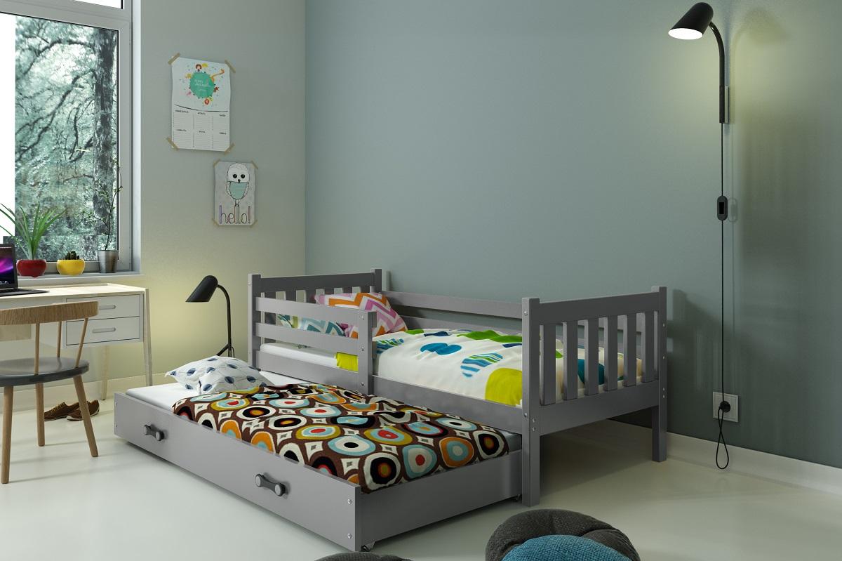 BMS Detská posteľ Carino s prístelkou Farba: Sivá / sivá