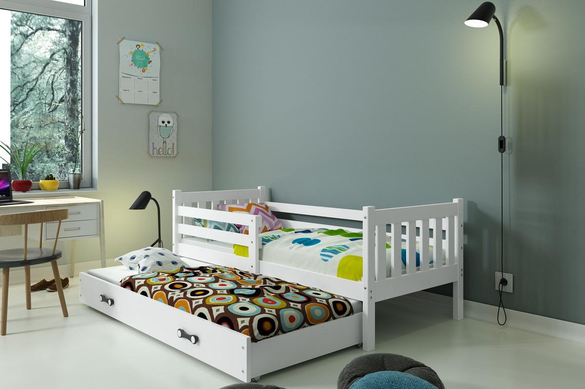 BMS Detská posteľ Carino s prístelkou Farba: Biela / biela