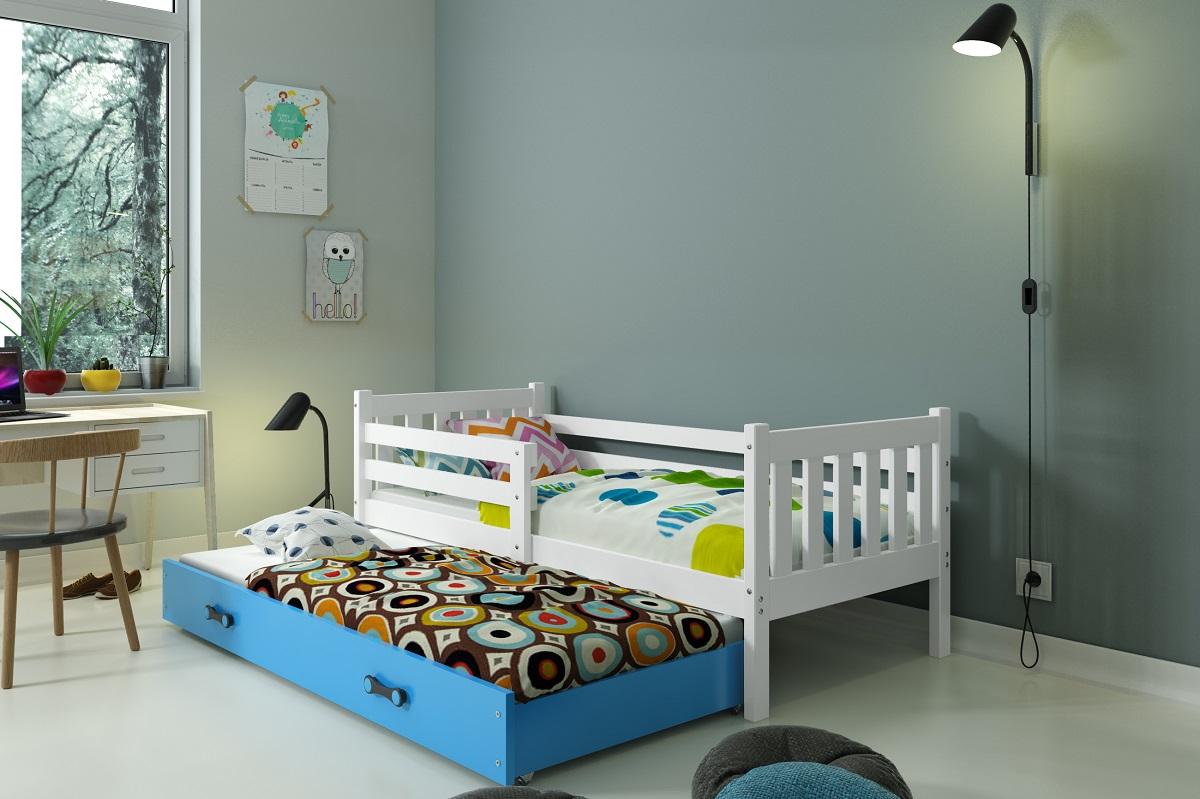 BMS Detská posteľ Carino s prístelkou Farba: biela / modrá