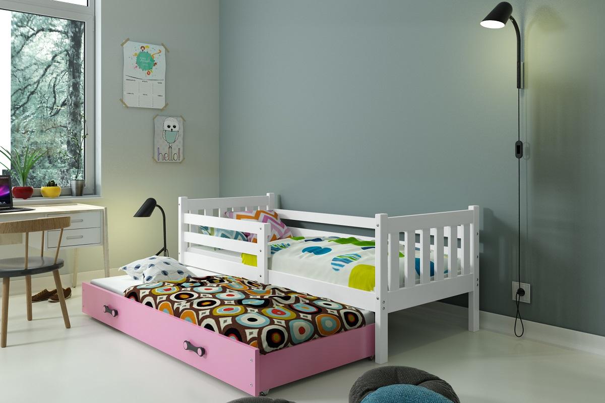 BMS Detská posteľ Carino s prístelkou Farba: biela / ružová