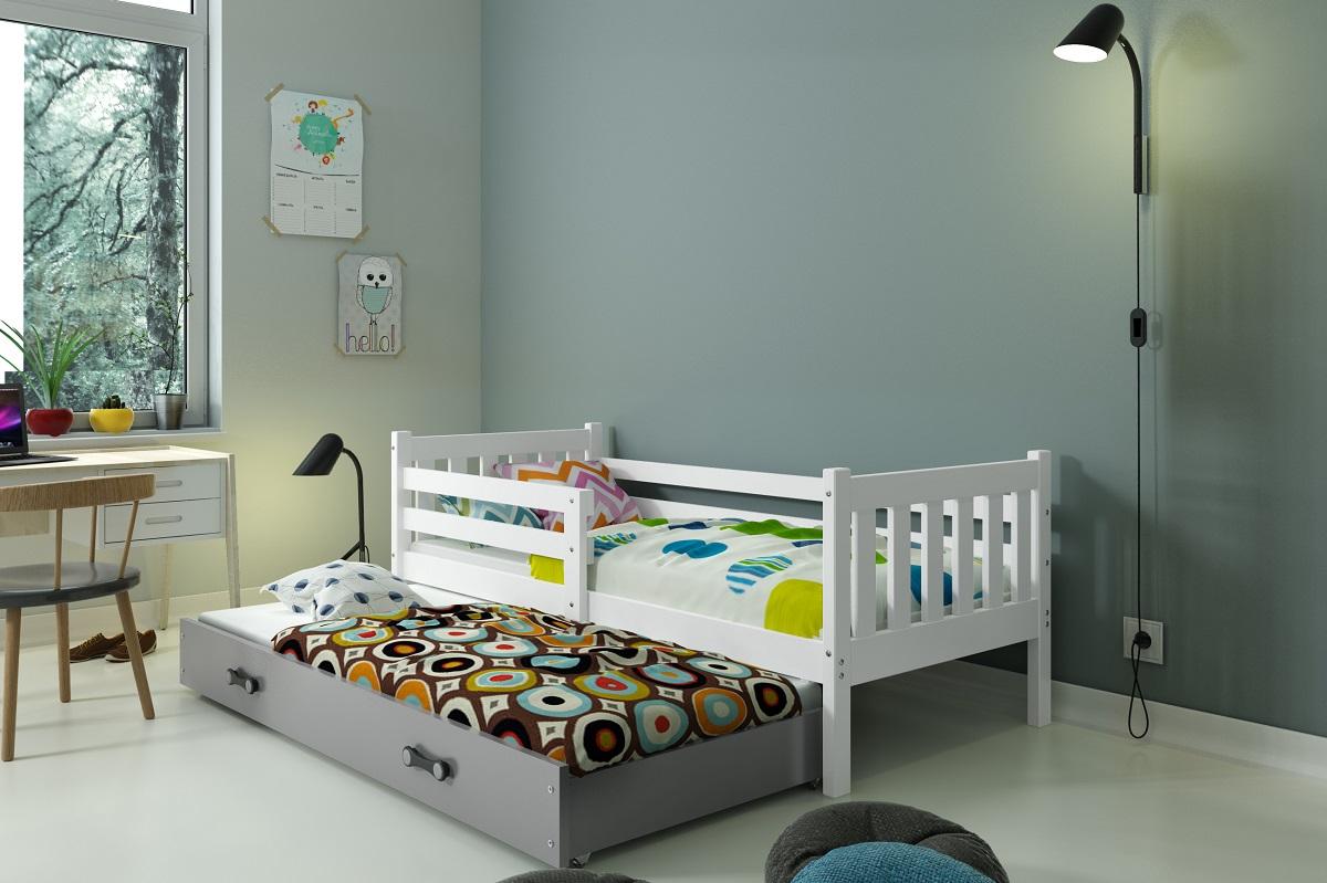 BMS Detská posteľ Carino s prístelkou Farba: biela / sivá