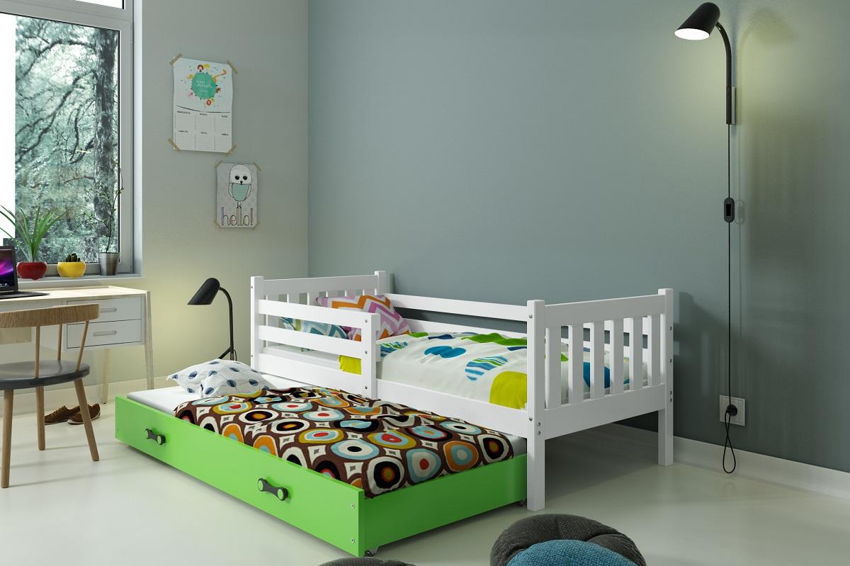 BMS Detská posteľ Carino s prístelkou Farba: biela / zelená