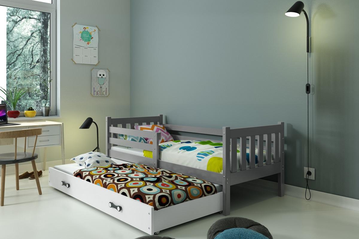 BMS Detská posteľ Carino s prístelkou Farba: Sivá / biela