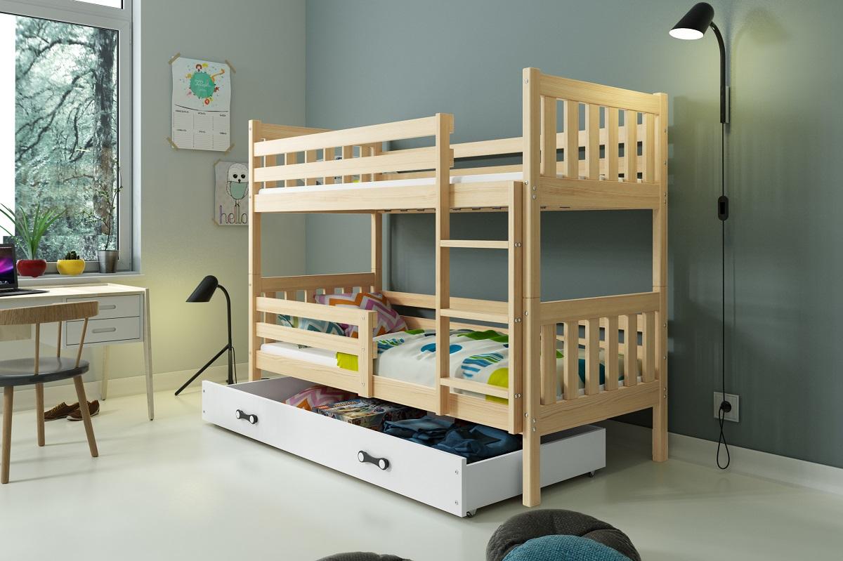 BMS Poschodová detská posteľ Carino so zásuvkou 80x190 Farba: Grafit + biely pásik - do vypredania zásob