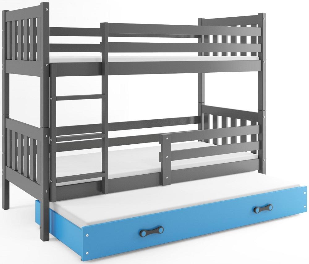 BMS Poschodová detská posteľ Carino s prístelkou 80x190 Farba: Sivá / Modrá