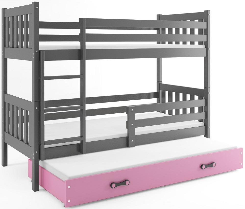 BMS Poschodová detská posteľ Carino s prístelkou 80x190 Farba: Sivá / ružová