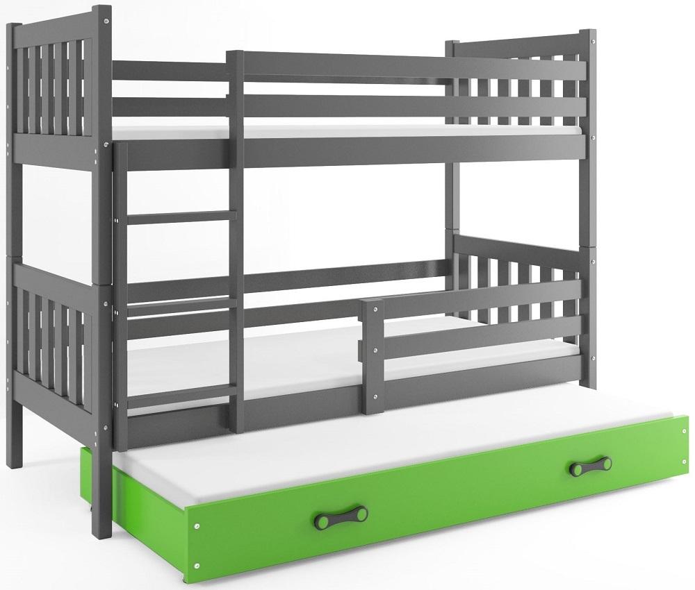BMS Poschodová detská posteľ Carino s prístelkou 80x190 Farba: Sivá / zelená
