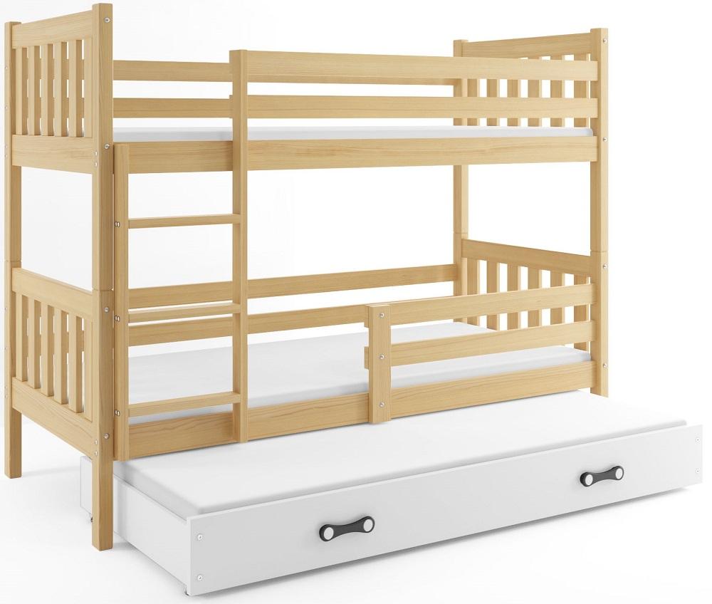 BMS Poschodová detská posteľ Carino s prístelkou 80x190 Farba: Borovica / biela