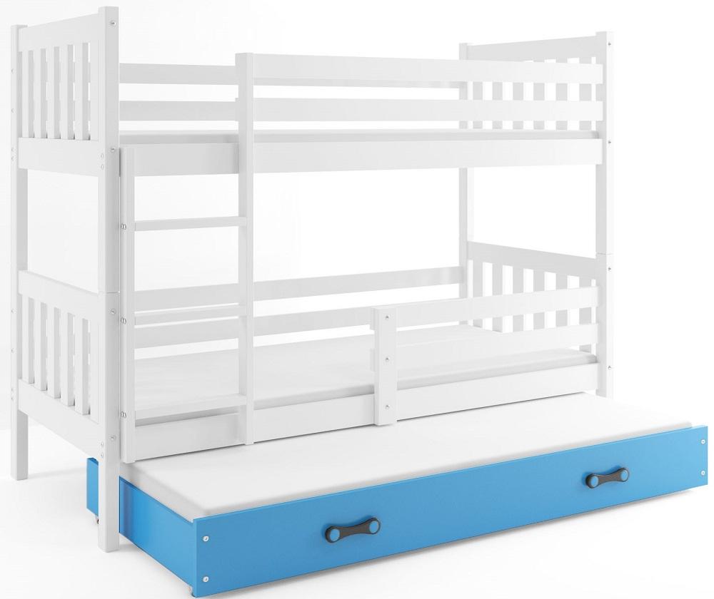 BMS Poschodová detská posteľ Carino s prístelkou 80x190 Farba: Grafit + biely pásik - do vypredania zásob