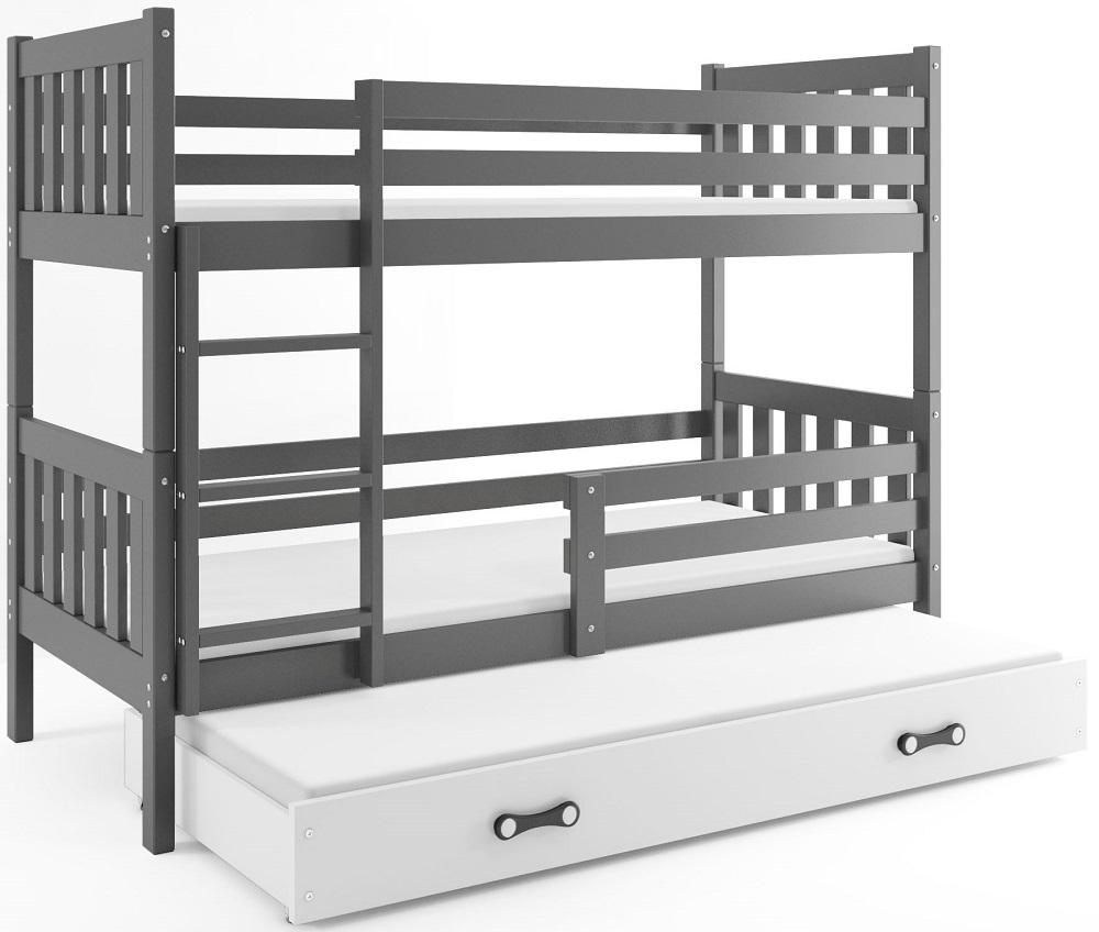 BMS Poschodová detská posteľ Carino s prístelkou 80x190 Farba: Sivá / biela