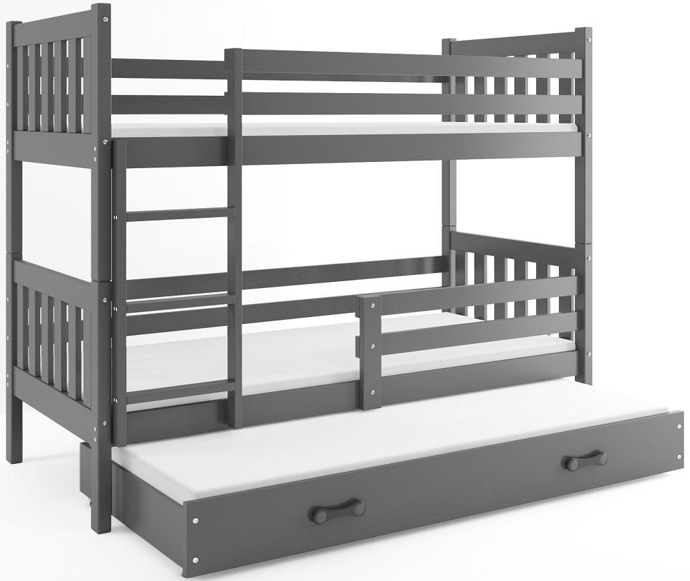 BMS Poschodová detská posteľ Carino s prístelkou 80x190 Farba: Sivá / sivá