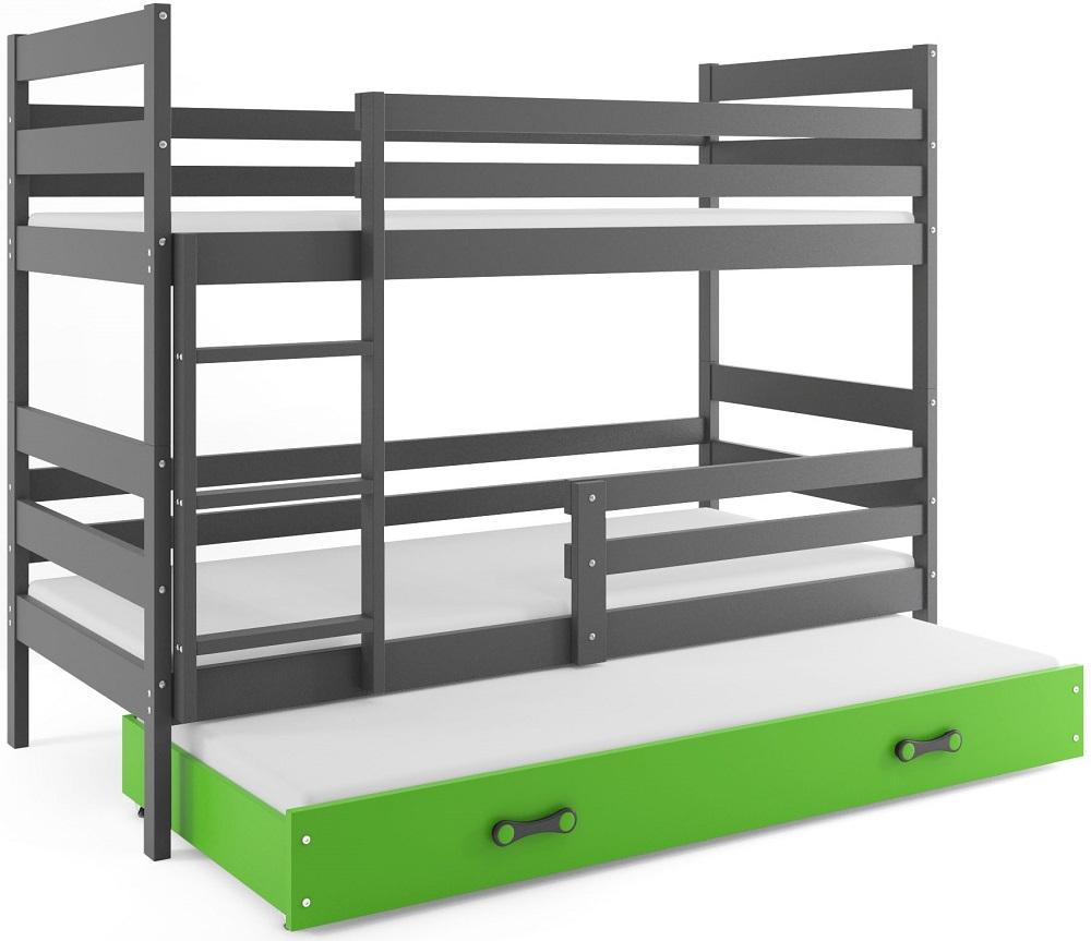 BMS Detská poschodová posteľ Eryk 3 s prístelkou / sivá Farba: Sivá / zelená, Rozmer.: 160 x 80 cm