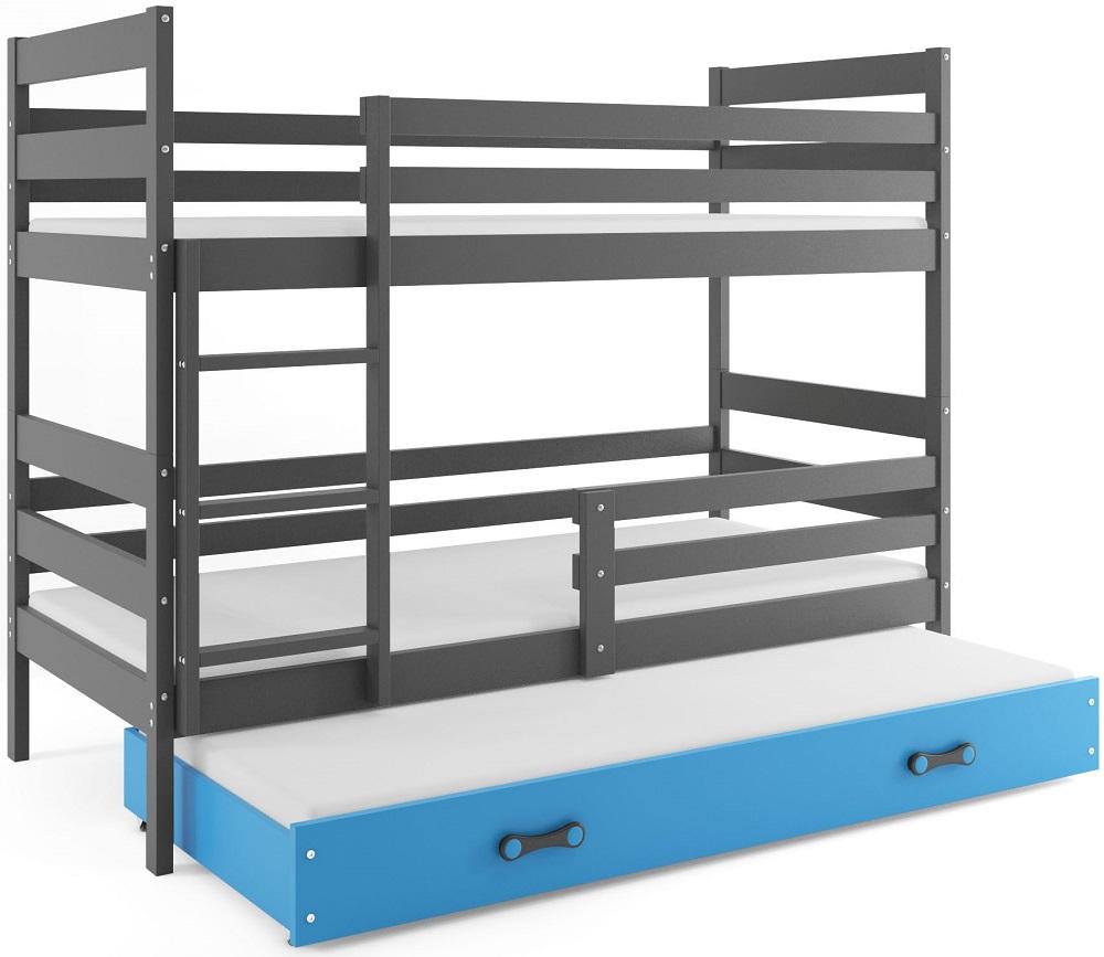 BMS Detská poschodová posteľ Eryk 3 s prístelkou / sivá Farba: Sivá / Modrá, Rozmer.: 160 x 80 cm