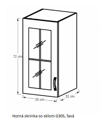 Tempo Kondela Kuchynská linka Provance Provance: Horná skrinka G30S - ľava 30x72x32 cm