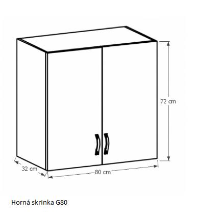 Tempo Kondela Kuchynská linka Provance Provance: Horná skrinka G80 - 80x72x32 cm