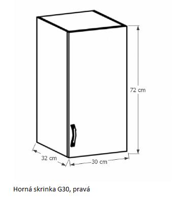 Tempo Kondela Kuchynská linka Provance Provance: Horná skrinka G30 - pravá 30x72x32 cm