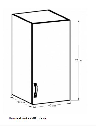 Tempo Kondela Kuchynská linka Provance Provance: Horná skrinka G40 - pravá 40x72x32 cm