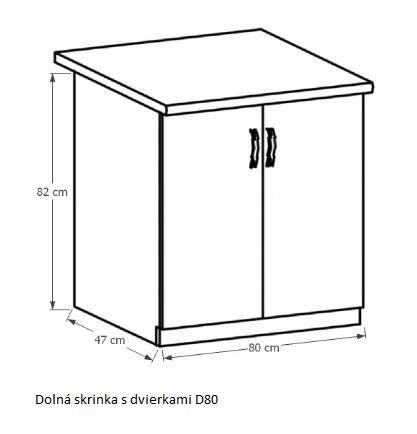 Tempo Kondela Kuchynská linka Provance Provance: Spodná skrinka D80 - 80x82x47 cm