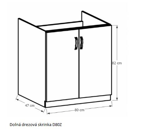 Tempo Kondela Kuchynská linka Provance Provance: Spodná skrinka drezová D80Z - 80x82x47 cm