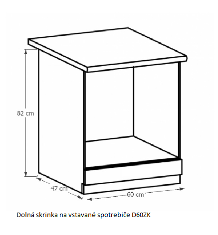 Tempo Kondela Kuchynská linka Provance Provance: Spodná skrinka D60ZK na vstavané spotrebiče - 60x82x47 cm