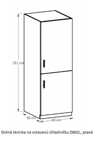 Tempo Kondela Kuchynská linka Provance Provance: Spodná skrinka na vstavanú chladničku D60ZL - pravá 60x212x58 cm
