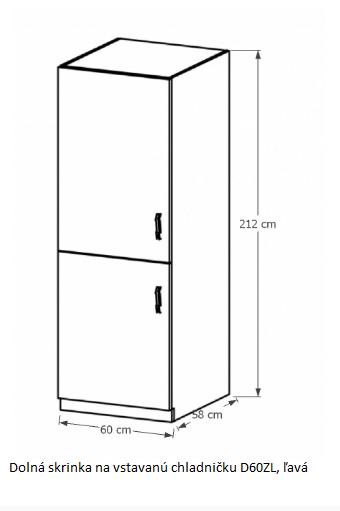 Tempo Kondela Kuchynská linka Provance Provance: Spodná skrinka na vstavanú chladničku D60ZL - ľavá 60x212x58 cm