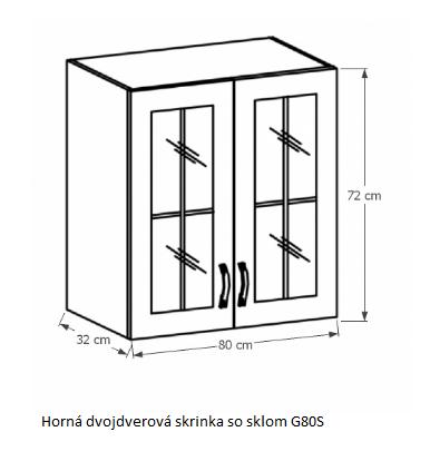 Tempo Kondela Kuchynská linka Provance Provance: Horná skrinka G80S - 80x72x32 cm