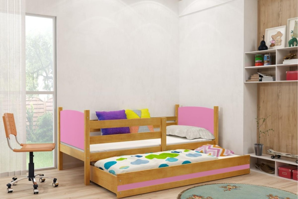 Detská posteľ Tami BMS 90 x 200 Farba: Grafit + pásik podľa vlastného výberu - do vypredania zásob