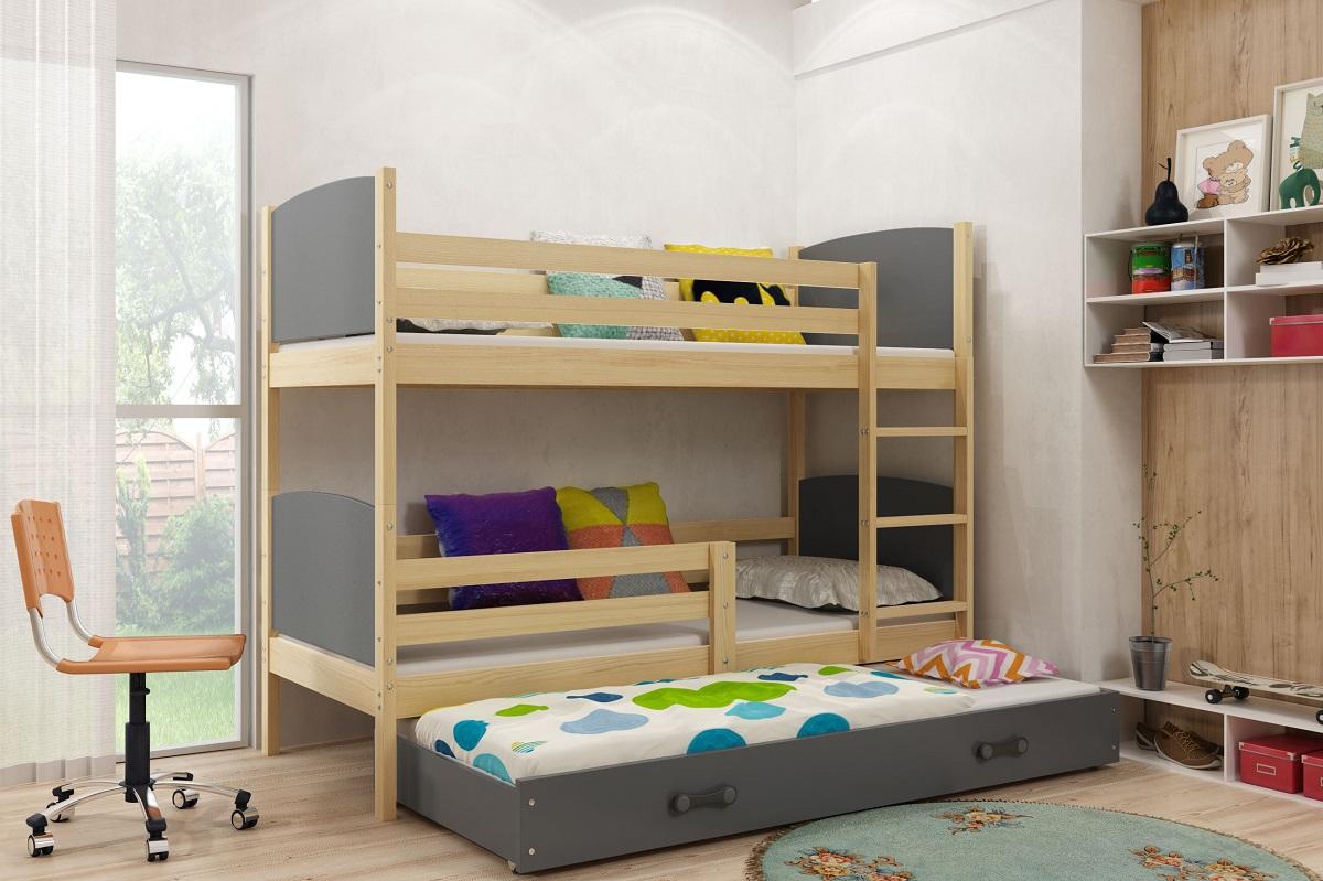 Detská poschodová posteľ Tami 3 BMS 80 x 160 Farba: Grafit
