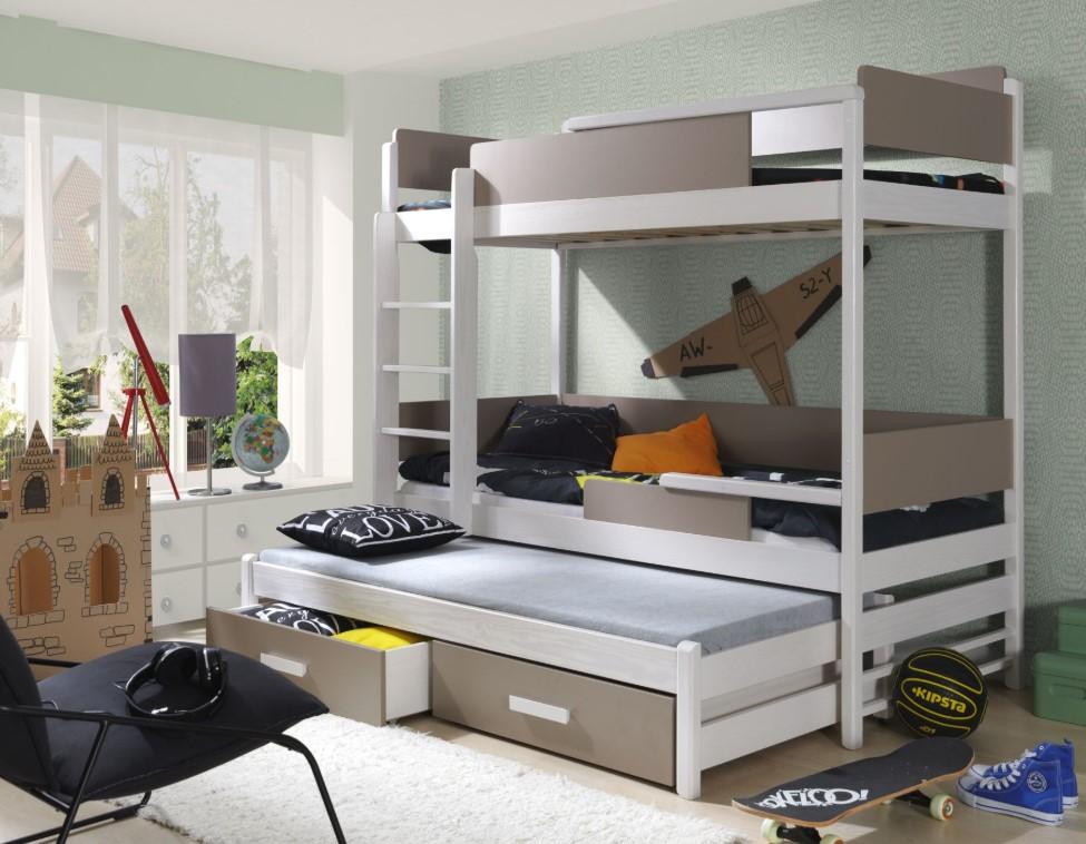 ArtBed Detská poschodová posteľ Quatro Farba: Orech korpus / doplnky dub sonoma / rebrík na ľavú stranu
