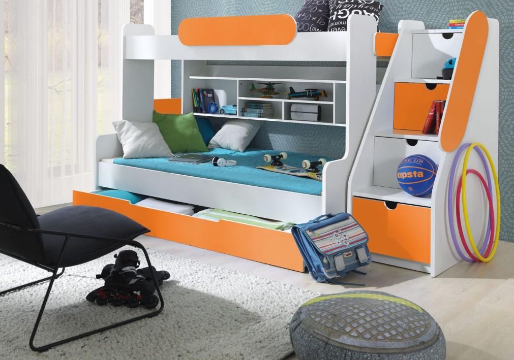 ArtBed Detská poschodová posteľ Segan Farba: Oranžová