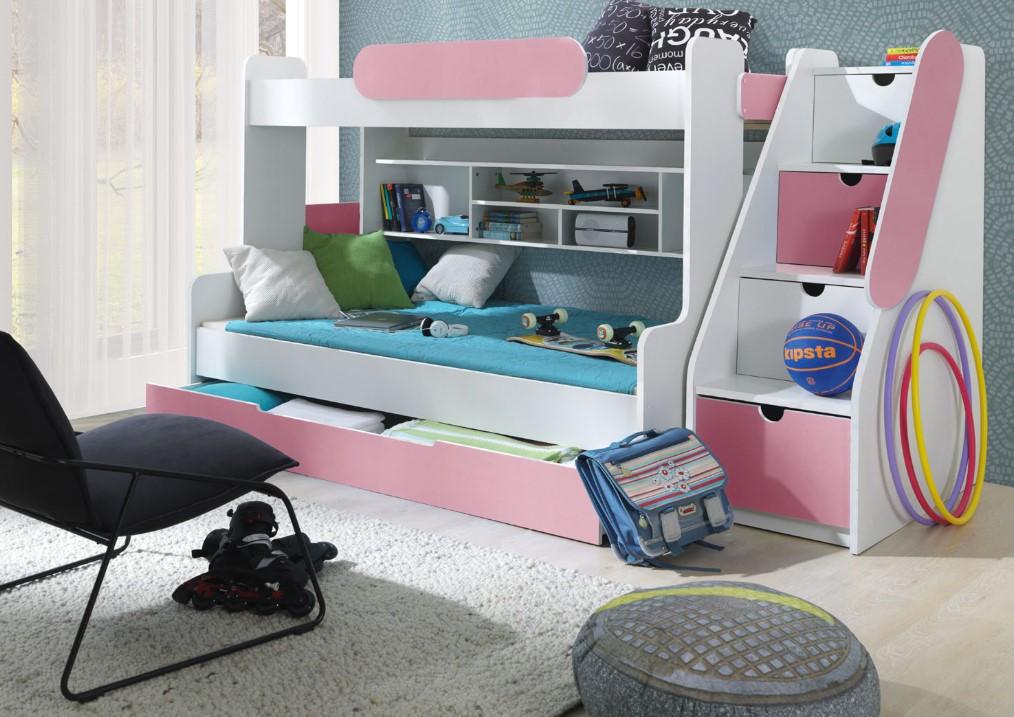 ArtBed Detská poschodová posteľ Segan Farba: Ružová