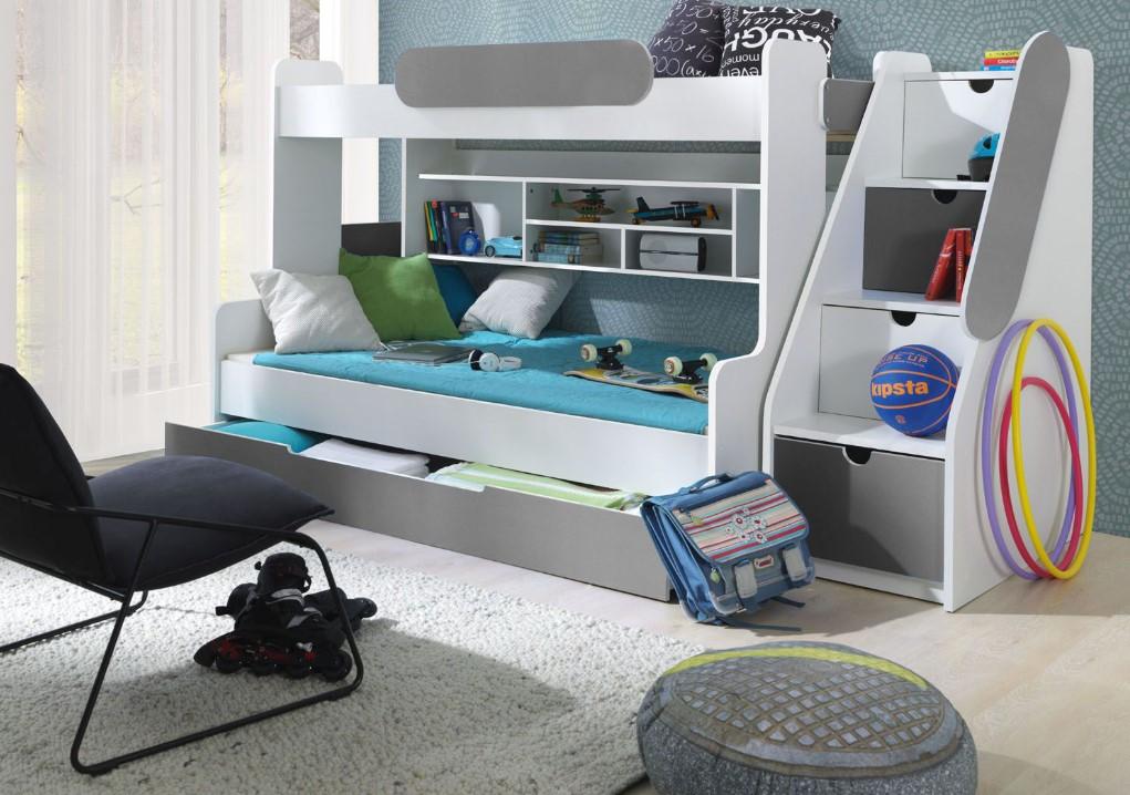 ArtBed Detská poschodová posteľ Segan Farba: Sivá