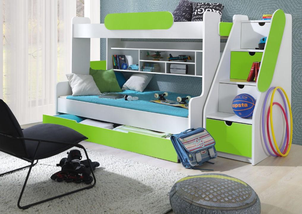 ArtBed Detská poschodová posteľ Segan Farba: Zelená