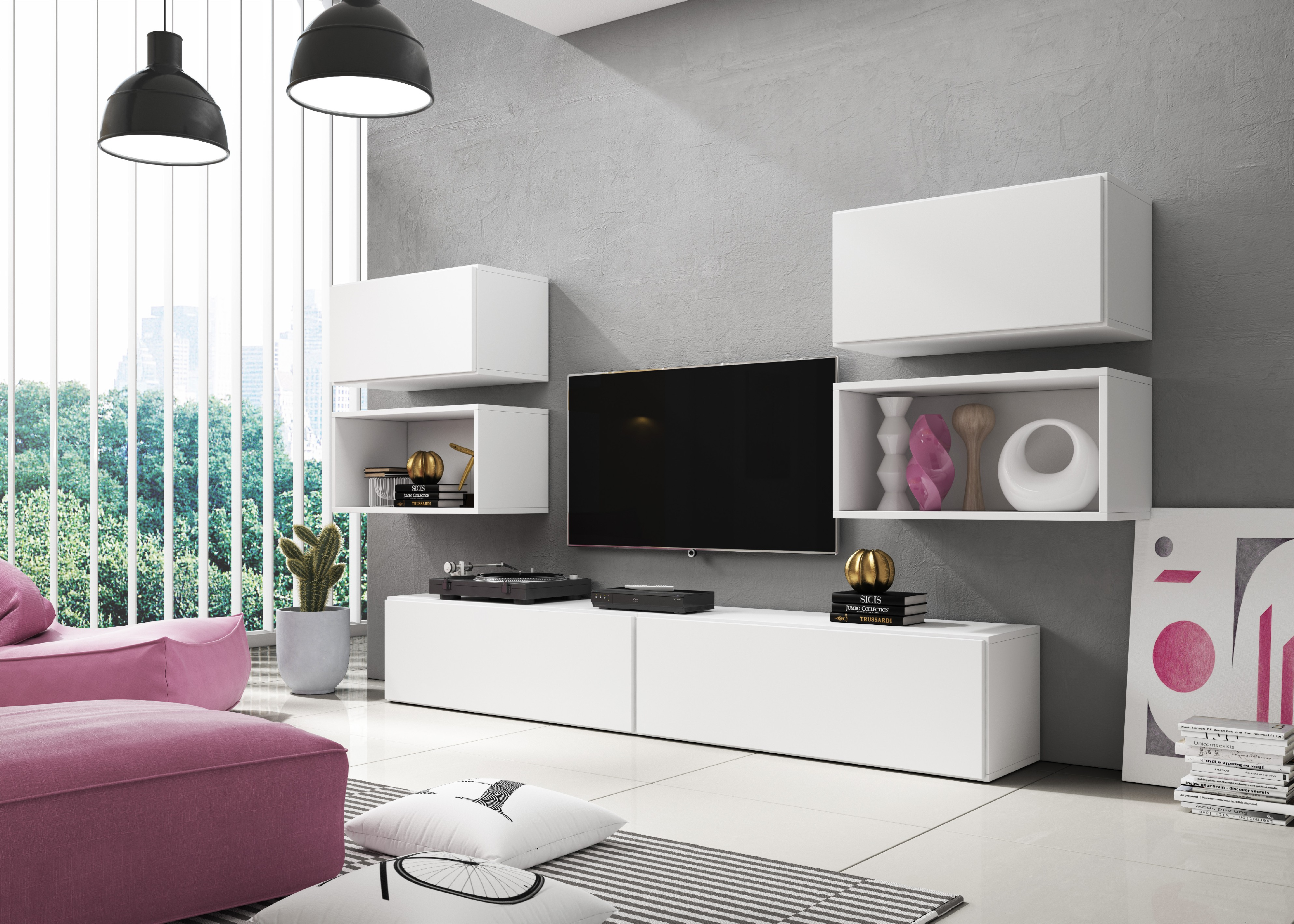 Artcam Obývacia stena ROCO 3 roco: korpus biely mat / okraj biely mat / dvierka biely mat
