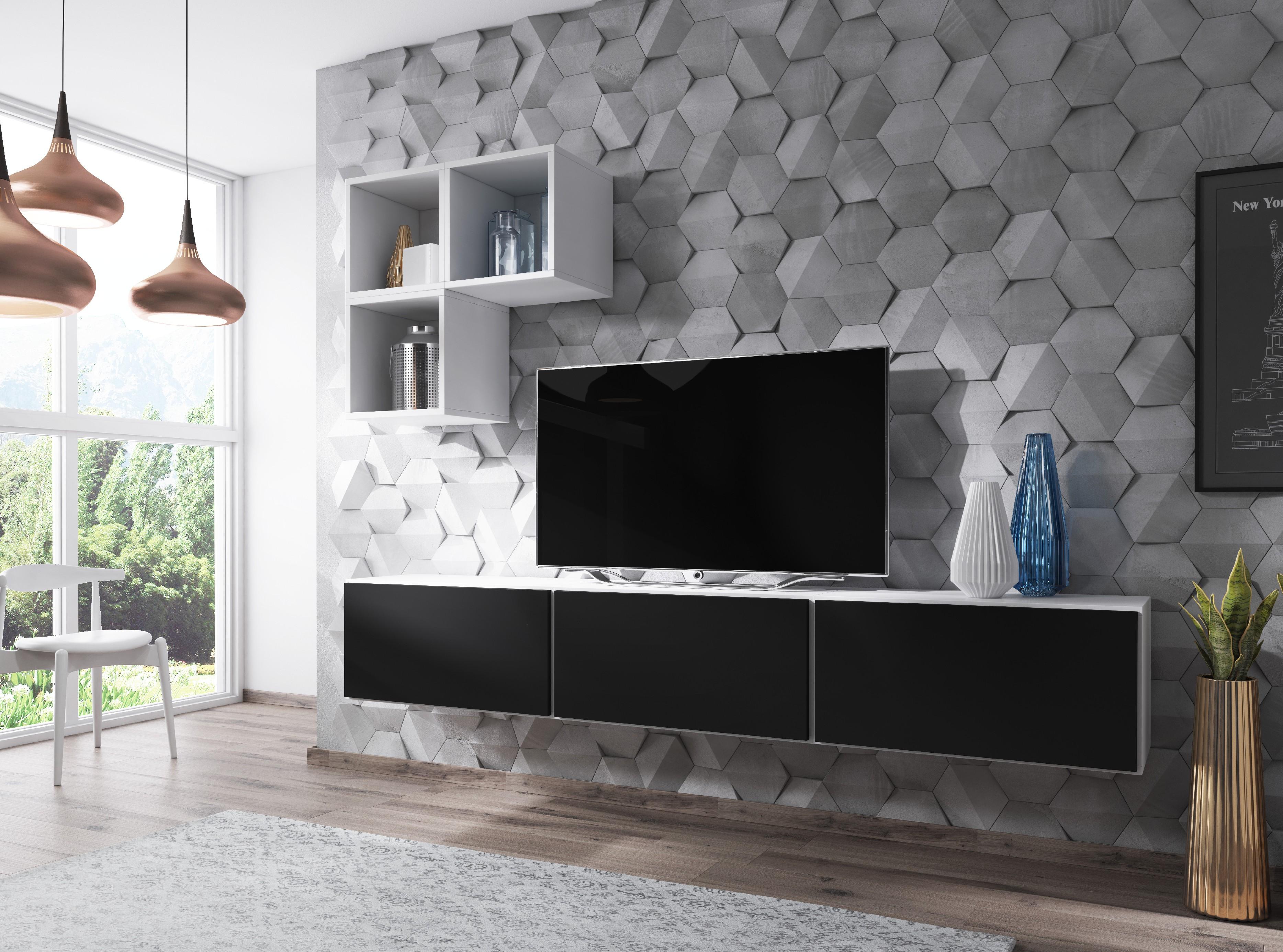 Artcam Obývacia stena ROCO 6 roco: korpus biely mat / okraj biely mat / dvierka čierny mat