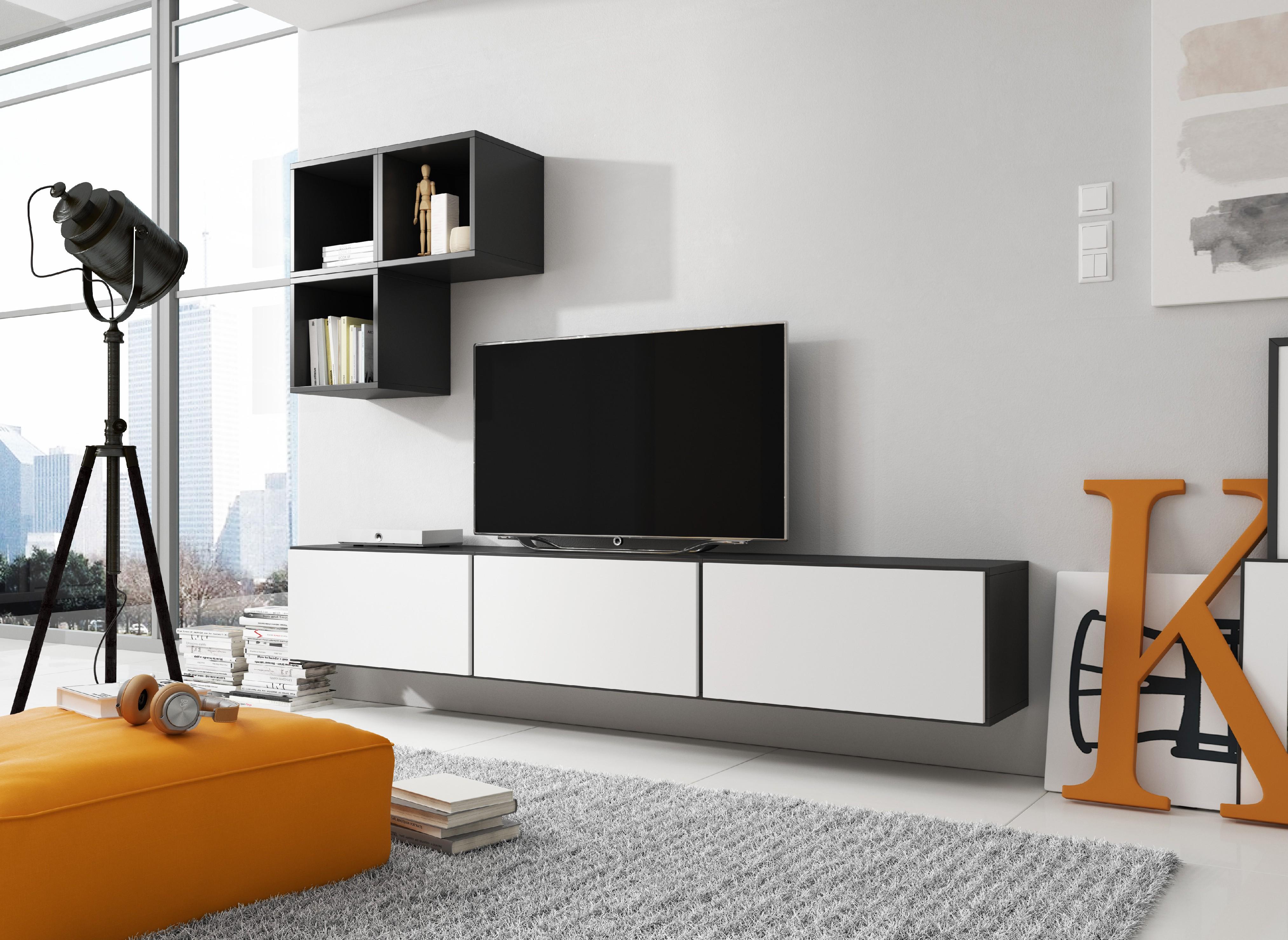 Artcam Obývacia stena ROCO 6 roco: korpus čierny mat / okraj čierny mat / dvierka biely mat