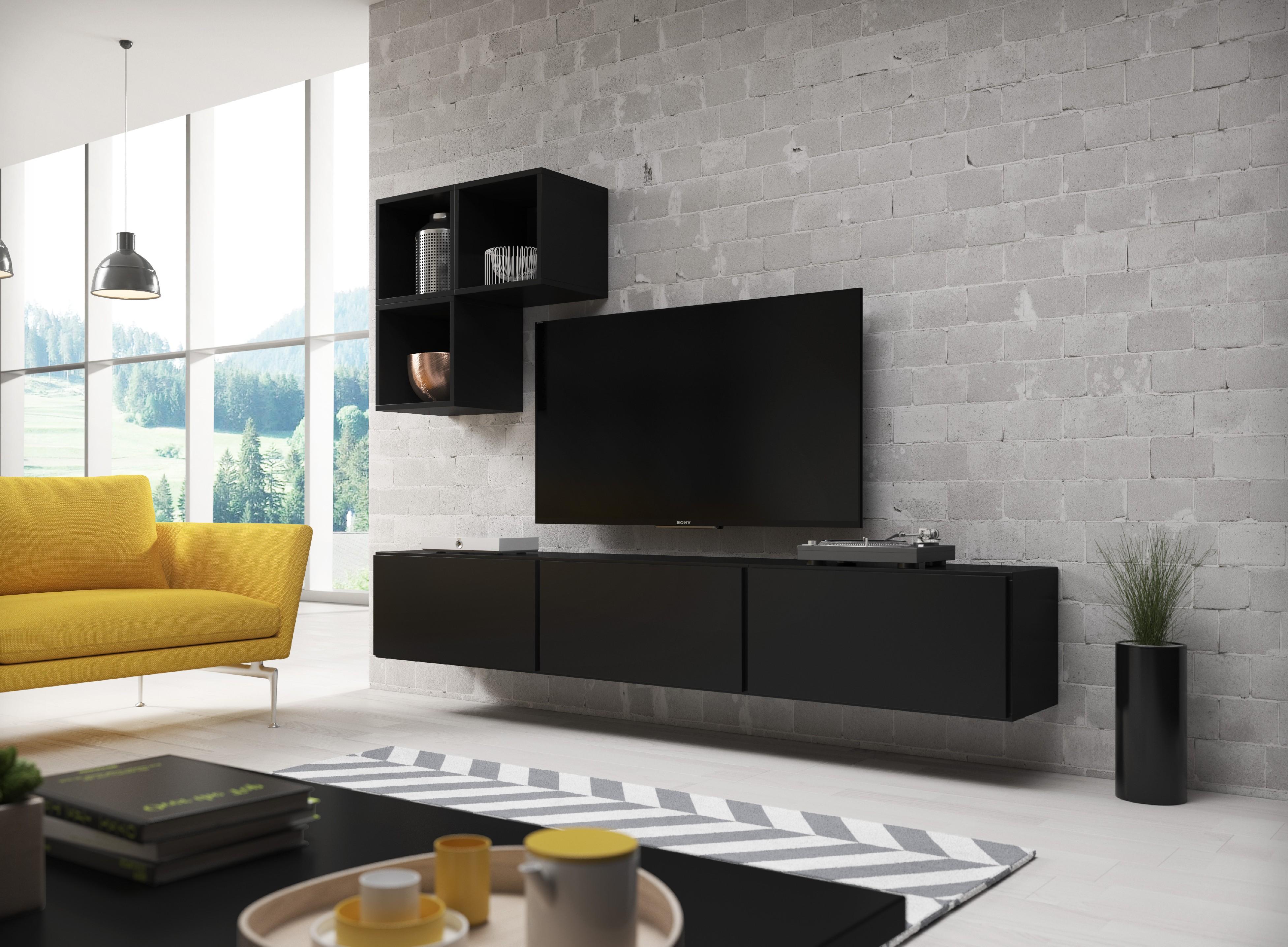 Artcam Obývacia stena ROCO 6 roco: korpus čierny mat / okraj čierny mat / dvierka čierny mat