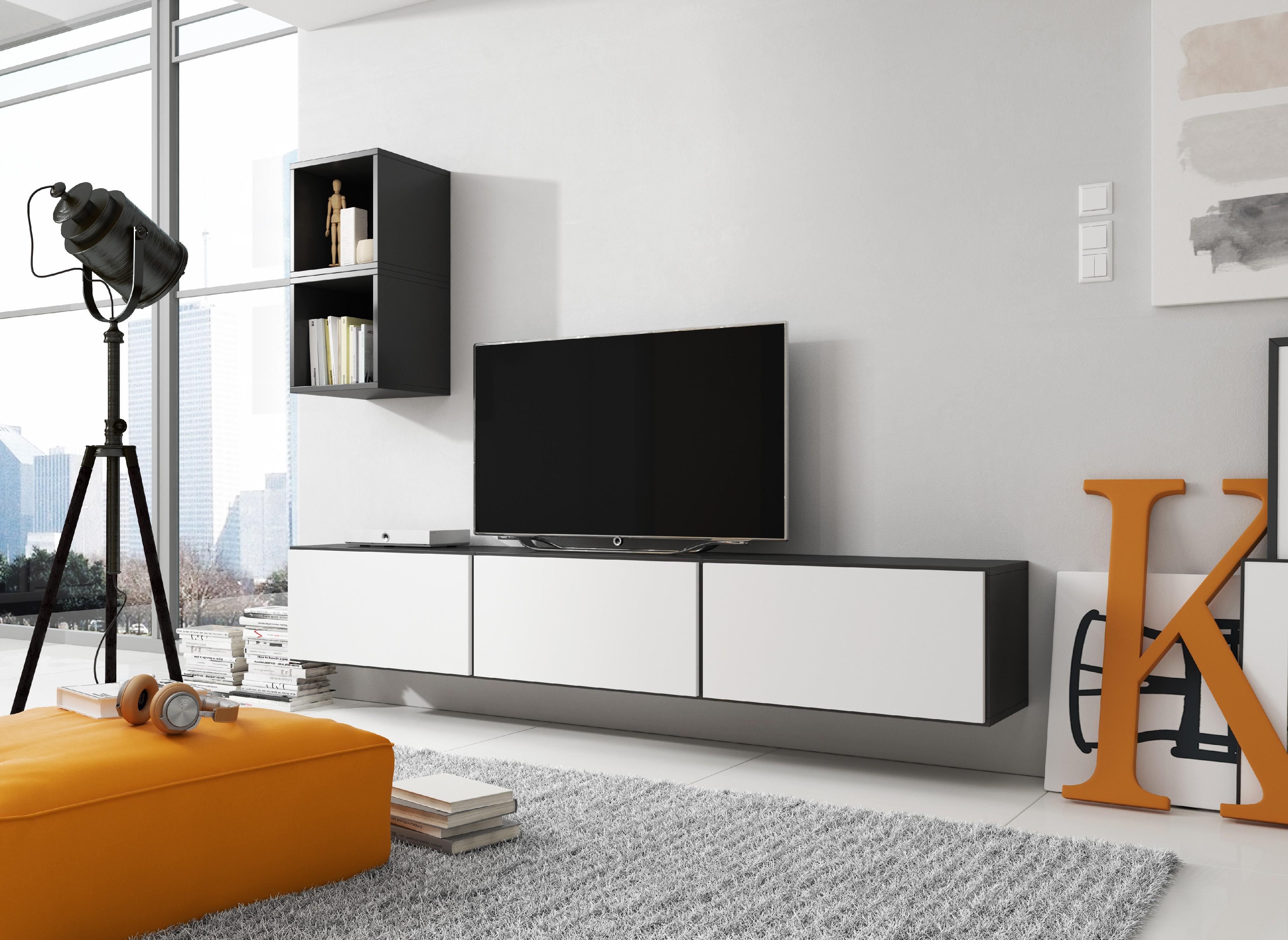 Artcam Obývacia stena ROCO 7 roco: korpus čierny mat / okraj čierny mat / dvierka biely mat