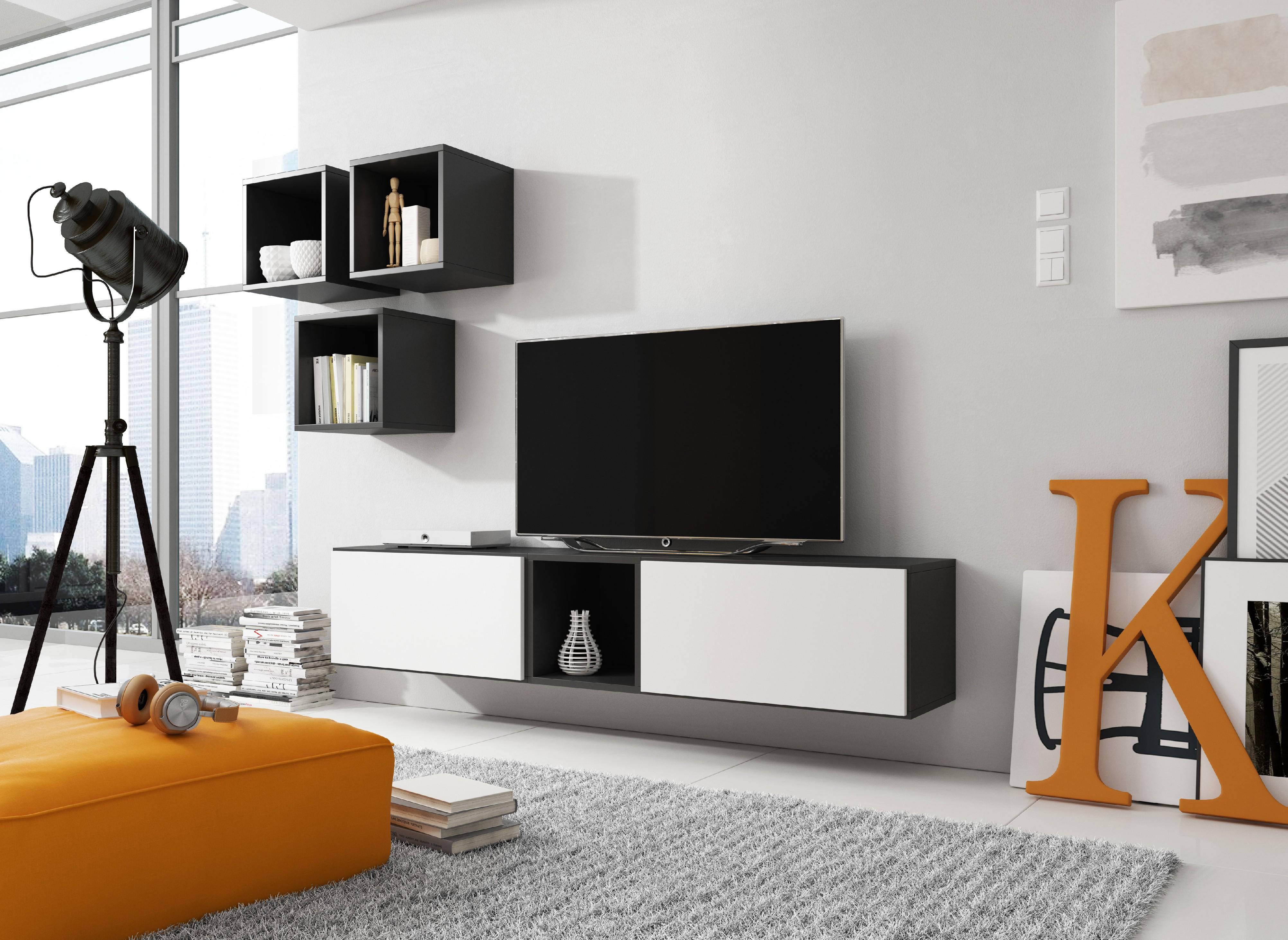 Artcam Obývacia stena ROCO 8 roco: korpus čierny mat / okraj čierny mat / dvierka biely mat
