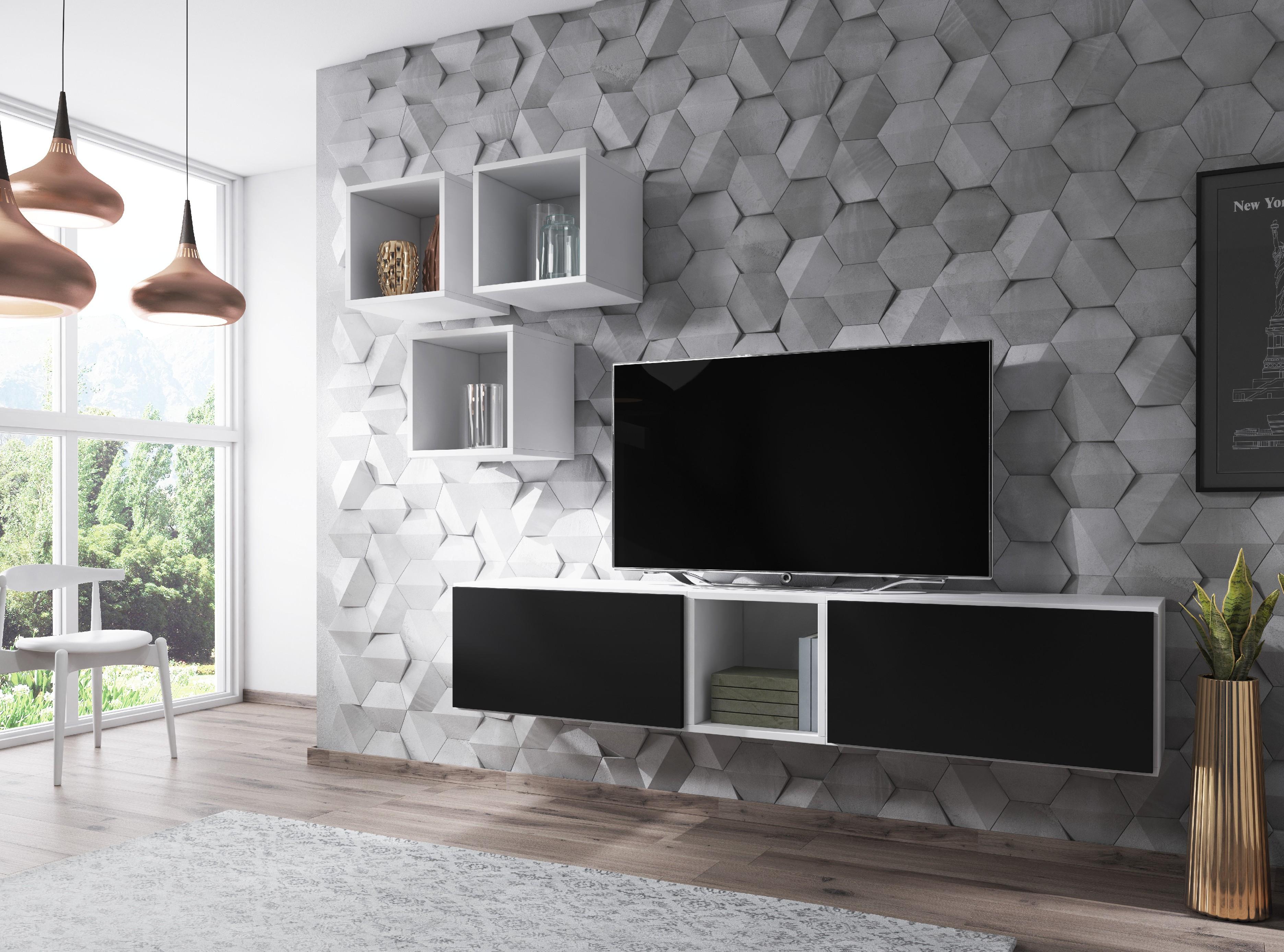 Artcam Obývacia stena ROCO 8 roco: korpus biely mat / okraj biely mat / dvierka čierny mat