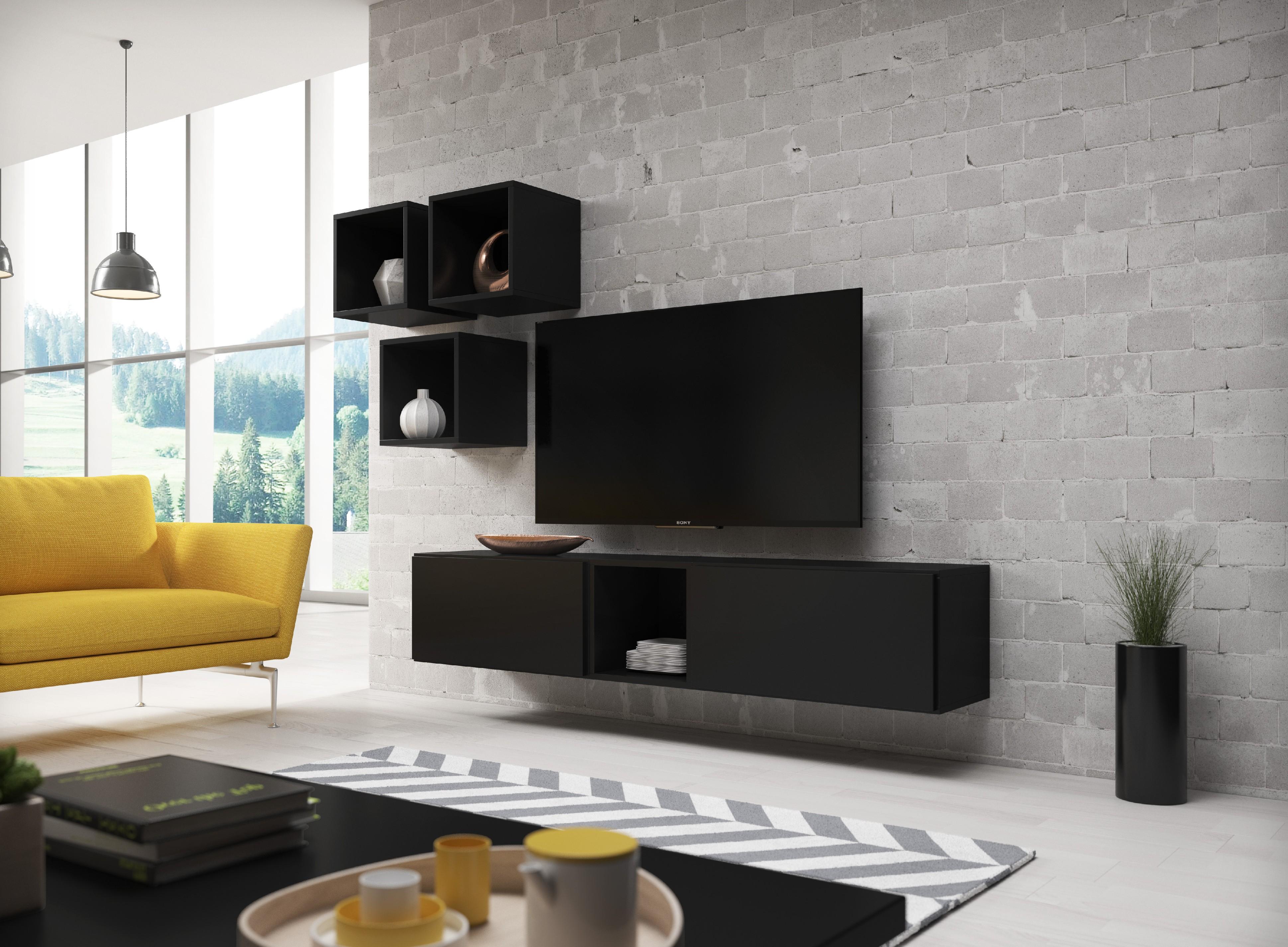 Artcam Obývacia stena ROCO 8 roco: korpus čierny mat / okraj čierny mat / dvierka čierny mat